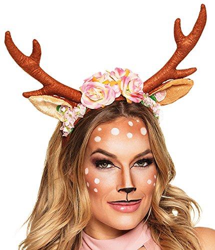 erdbeerclown - Damen Weihnachts Kopfbedeckung Funartikel - Rentier Geweih Haarreif Muerte Tiara, (Heilige Maria Kostüme)