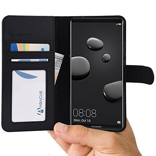Mate 10 Pro Hülle [Schwarz] Tasche kompatibel mit Huawei Mate 10 Pro Brieftasche [Abacus24-7] Handy-hülle/Leder-Tasche mit Ständer Fächern für Karten Bargeld, Handytasche Mate10 Pro Case Cover
