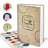 XXL Hard Cover ricettario Italiano fai scrivere le mie migliori ricette + colorati da cucina adesivi 164fogli bianchi pagine Libro di ricette taccuino-regalo per te scrivere + registro