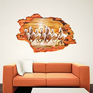 Creatick Studio Running Horses Home Decor 3D Wall Sticker, Poster (Covering on Wall 76cm x 50cm)
