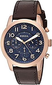Fossil Men's Blue Dial Leather Band Watch - FS