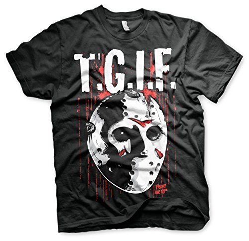 Officially Licensed Merchandise Friday The 13th - T.G.I.F. T-Shirt (Black), X-Large (G Halloween Herr)