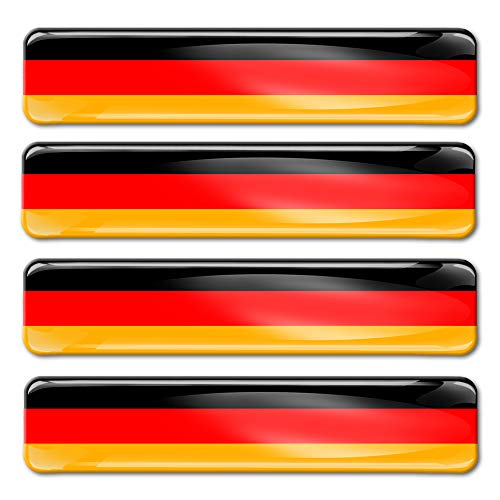 SkinoEu® 4 x Adesivi Resinati 3D Gel Stickers Divertente Bandiera Germania Germany per Auto Moto Finestrìno Porta Casco Scooter Skateboard Bici PC Laptop Tablet Tuning F 9