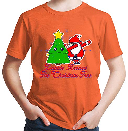 HARIZ  Jungen T-Shirt Dabbin' Around The Christmas Tree Weihnachten Weihnachts Familie Tannenbaum Inkl. Geschenk Karte Orange 164/14-15 ()