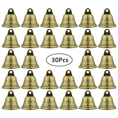 gotyou 30 Stück Vintage kleine Glocke,Metallische Glocke Ton Glocken Kupfer Glocken Behänge,Windspiel Dekorationen/Pet Bell Zubehör/Weihnachtsglocke/Festliche Dekoration(38mm)