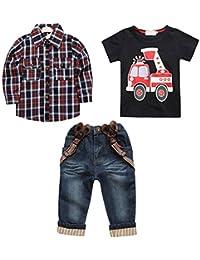 3pcs Enfants Bébé Chemise + T-shirt + Jeans Y Bretelles Tenues Cools pour Garçons 2-7ans