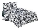 Buymax - Bettwäsche Set 3 TLG. Baumwolle Renforcé mit Reißverschluss Oeko-Tex Komfortgröße, 200x220 cm, Sterne Stars