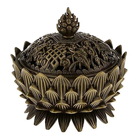 Lotus Incense Smoke Cone Aroma Burner Holder Stove Backflow Censer Decor - Bronze, 5x9x8cm