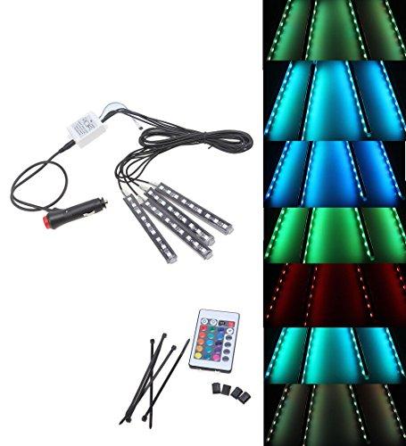 Ligue & Co 4 Pcs7 Couleur LED kit d'éclairage Intérieur Fondbox, intérieur Atmosphère Neon Lights Bande pour auto avec télécommande