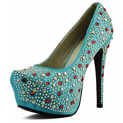 Trend Star Women Pumps Women's High Heels Platform Lace Party Pfennig new pumps Stil 4 - Smaragd