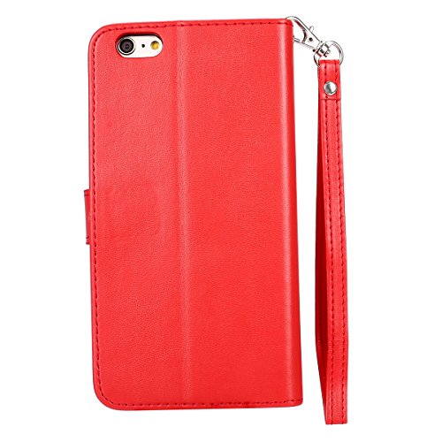 Hülle für iPhone 6S Plus, Tasche für iPhone 6 Plus, Case Cover für iPhone 6 Plus, ISAKEN Glitzer Strass Kristall Blume Schmetterling Muster Folio PU Leder Flip Cover Brieftasche Geldbörse Wallet Case  Gold Schmetterling Rot