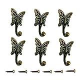 Retro Vintage Wandhaken Kleiderhaken,6 Stück Garderobenhaken Schmetterling Gusseisen Kleiderhaken Huthaken Tuer Haken