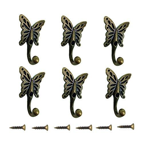 Retro Vintage Wandhaken Kleiderhaken,6 Stück Garderobenhaken Schmetterling Gusseisen Kleiderhaken Huthaken Tuer Haken (Gusseisen Vintage)