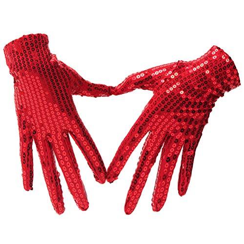 Anqeeso Pailletten Handschuhe für Cosplay, Erwachsene Kinder funkelnde Dance Party ()