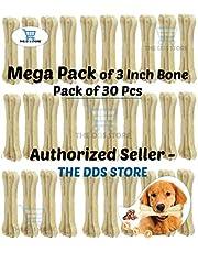 The DDS Store Rawhide Pressed Chew Dog Bone Mega Pack 3 Inches 30 Pcs