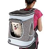 Petsfit Cage de Transport en Tissu Pliable pour Chiens et Chats, Gris, Sac à Dos de 43cm x 32cm x 29cm