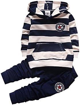 Shiningup Baby-Trainingsanzug-Jungen-Kleidungs-gesetztes Outfit-langes mit Kapuze gestreiftes T-Shirt und Hosen...