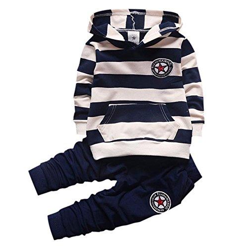 Baby-Trainingsanzug-Jungen-Kleidungs-gesetztes Outfit-langes mit Kapuze gestreiftes T-Shirt und Hosen für 0-4 Jahre kleine Kinder durch Shiningup