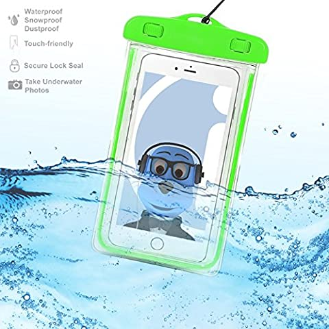 Samsung Galaxy C7 Pro 2017 Green TRANSPARENT Underwater Protection Touch Responsive Dry Bag Case Cover for Samsung Galaxy C7 Pro 2017