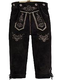 Herren Trachten Lederhose Kniebundhose mit Trägern aus Rindveloursleder Dunkelbraun