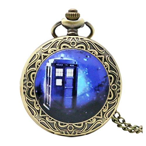 DR WHO-Blue Tardis-Deckeltaschuhr mit dekorativem Bronzeeffekt, Retro/Vintage, für Herren und Jungen, Quartz-Taschenuhr, Halskette - an 80 cm langer Kette