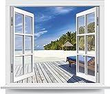 Premiumdesign Wandtattoo offenes Fenster Strandausblick in Originalgröße 120 x 102cm farbig #138
