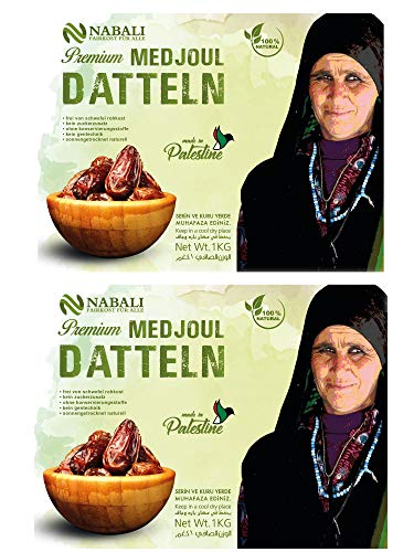 Medjoul - Medjool Datteln aus Palästina 2 x1 kg | Qualitätsware - 100% naturell | naturbelassen |aktuelle Ernte| unbehandelt | ohne Konservierungsstoffe | Vegan | Jumbo