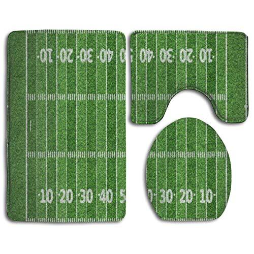 Juego 3 alfombras baño diseño Campo fútbol Americano