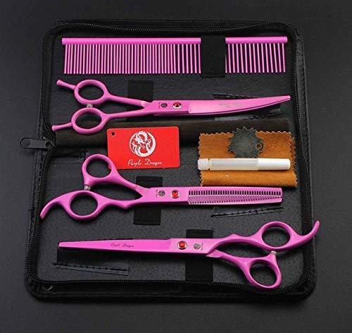 HANHUAN 7,0 Zoll Hund Schere Set Pet Dog Grooming Scissors Kit Gerade Scissor Curved Shear Effilierschere + Comb HaarschneidewerkzeugPink -