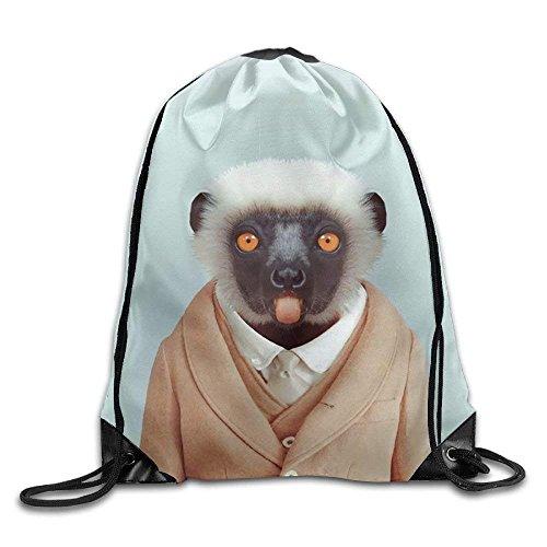 456b6bf98b Animals Dressed Like Humans Vervet Monkey Gym Drawstring Backpack Unisex  Portable Sack Bag