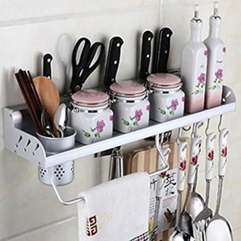Multifunctional Wall Hanging Aluminum Kitchen Rack of Wall Shelf, Condiment Bottle Rack, Utensil/Pot/Pan Hanger Hook, Pot Organizer, Storage Rack and other Kitchen Gadgets(1 Cup)
