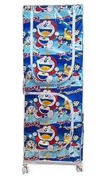 Kotak Sales Multipurpose 5.2ft Elders, Younger Kids Baby Infant Child Doremon Printed Wardrobe Moving Folding Almirah Shirt Saree Hanger Organizer 3 Shelves Rolling 62Inch Size For Cloths, Shoes, Books, Etc