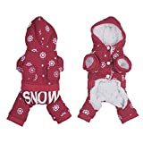 PUERI Coat Warm Winter Four Paws Design Drawing Flatpacked Snowflake has Hoodie Dog Bulldog French, XS