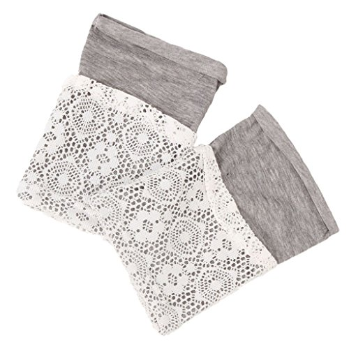 Frauen Damen Winter Stricken Beinlinge Lace Trimmen Gestrickt Gehäkelt Spitzen Füßlinge Schneiden Buchse Beinstulpen Socken - Hellgrau, one size