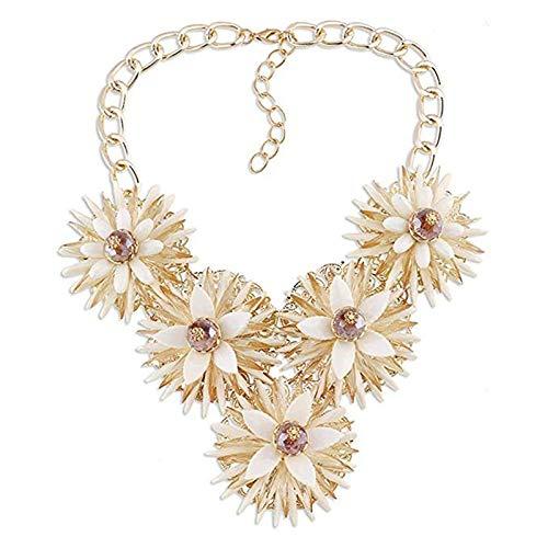 QTDS Damen Halskette Frauen Daisy Floral Blume Multilayer Aussage Chunky Strass Halskette Bib Kragen Schmuck Set für Frauen (Farbe : A)