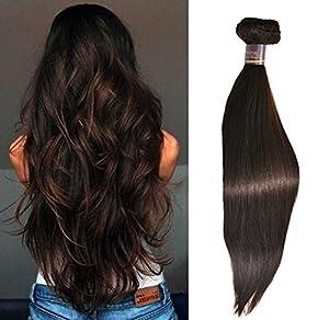 Moresoo Chatain Tres Fonce 2# Bresilien Tissage Lisse Raides Naturel 26 Pouces/65cm 100gram Cheveux Extensions