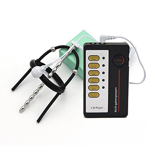Genmine® Elektrischer Penis Plug mit Ringhalterung Set Harnröhren plug Elektrostimulation Dilator aus Edelstahl mit Fernbedienung für Männer