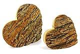 Unbekannt Herzen Set aus Eiche Massivholz mit Rinde XL - 20x20 & 15x15 cm - 2 Teilig - Valentinstag, Hochzeitstag, Muttertag, Geburtstag