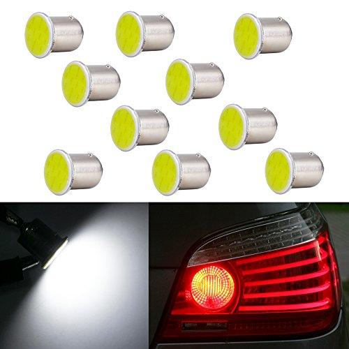 COB 12V P21W Brake Light LED Bulb BA15S 1156 Xenon White 6000K for Car Turn Signal Stop Backup Rear Reverse Light 1141 1073 R5W 1093 1129 Lamp Bulbs (pack of 10)