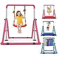 Stoge Barra De Gimnasia Portátil Ajuste For Niños Barra Horizontal Multifunción Barra De Entrenamiento Junior Ampliable Plegable Rosa con Columpio