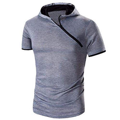 QIYUN.Z Männer Sommer Beiläufige Kurze Hülse Mit Kapuze Reißverschluss Sport Dünne T-Shirt T-Stücke Grau