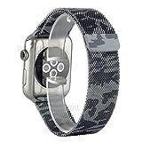 JAMMYLIZARD Cinturino Militare per Apple Watch 42mm in Acciaio Inossidabile Loop in Maglia Milanese con Chiusura Magnetica, Grigio Mimetico