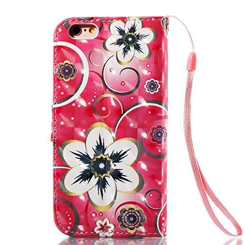 iPhone 6S Plus 5,5Zoll Hülle,iPhone 6 Plus Tasche,TOYYM Ultra Dünn PU Leder Flip Cover Brieftasche Wallet Case Klapptasche Etui,3D Muster Design Folio Bookstyle Lederhülle Schutzhülle mit Kartenhalter Mandala Blume