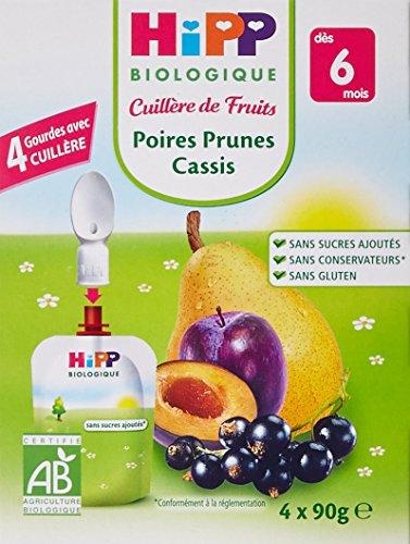 Hipp Biologiques Cuillère de Fruits Pots Poire, Bananes,Pommes Myrtilles, Pommes Abricots dès 4/6 mois - 24 pots de 125 g