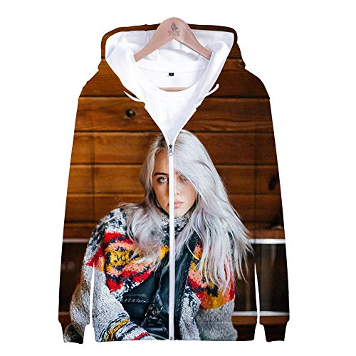 Kapuzenpullover,Unisex Song Singer Theme Youth Sweatshirt Long Sleeve Hoodie Zipper Pullover Couple Casual Top, Billie Eilish,S