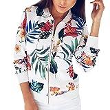 VEMOW Herbst Winter Frauen Damen Druck Langarmshirts Reißverschluss Jacke Casual Täglich Outdoors Outwear Lose Tops(Weiß, EU-40/CN-M)