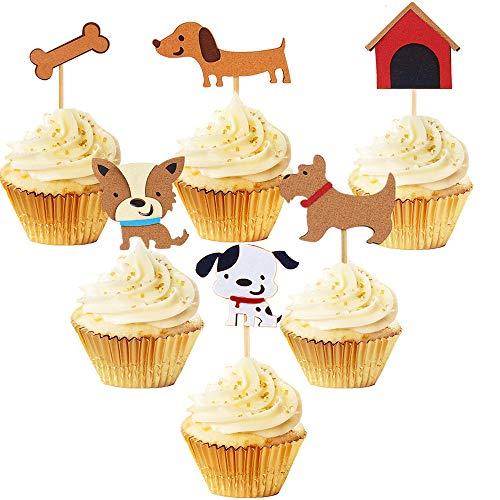 JeVenis Satz von 24 Welpen Cupcake Topper Hund Annahme Haustier Geburtstag Party Kuchen Dekoration Lieferungen (Haustiere Annahme)