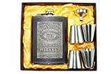 #3: Jack Daniel's 8oz PU Leather Wrapped Stainless Steel 304 Liquor Hip Flask / Alcoholic Beverage Holder - 4 Shot Glass / 1 Funnel Set - Style 7
