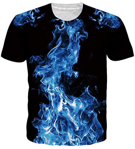 uideazone Herren T-Shirts 3D Muster Kurzen Ärmels Kurzarm Shirt Sport Fitness T-Shirt Rundhalsausschnitt Lässige Graphics Tees (Hai-Galaxy, XL) -