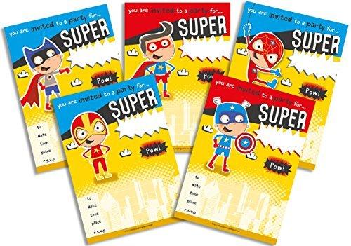 g Party Einladungen gelb Super Hero Mix Pack ()